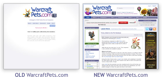 Old WarcraftPets.com vs New WarcraftPets.com