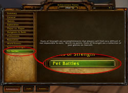 Pet Battles achievement tab